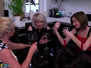 Two blonde matures sharing young brunette