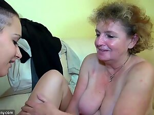 Horny hairy old Granny masturbate with young couple