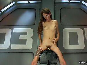 Hairy solo brunette is machine banged