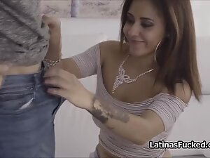 Big tit Latina plays with big fat dick