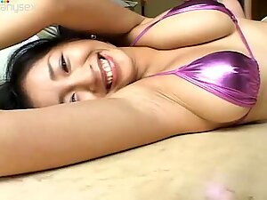 Rich breasted Japanese babe Arisa Oda plays with her girlfriend