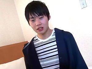 Asian teen solo stroking