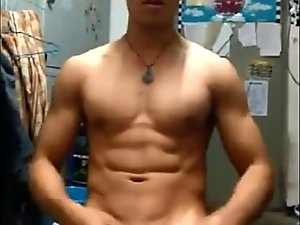 Hot Chinese jock wank and cum on himself in dorm