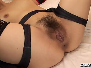 Hairy Asian pussy in stockings getting fucked real hard