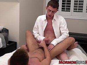 Horny mormon cums tugging