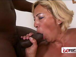 Granny with big tits likes interracial hardcore sex