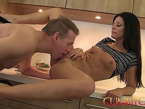 CUM KITCHEN: Hot Brunette MILF India Summer Gets Her Pussy Stuffed While Cooking
