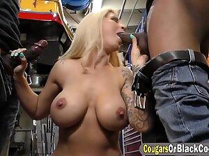Busty mature blonde is enjoying hardcore double penetration by fine black guys