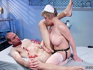 Huge tits MILF nurse pegging man