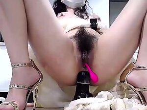 Hairy pussy with big toy