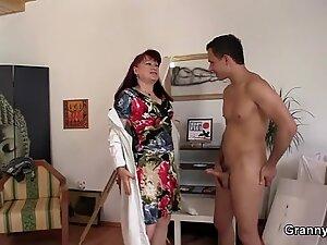 elderly mature in fantastic undergarments rides his cock