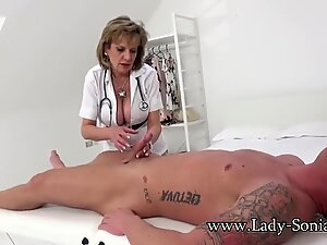 woman Sonia gives a rubdown then gets screwed hard