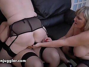 Busty British babe Sarah Jane fucks two older BBW women