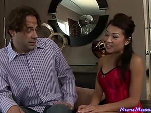 Flexible Asian Jackie Lin gets her pussy licked in the bathroom